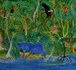Bilit rainforest 3 ink and watercolour on board, 50 x 24cm copy