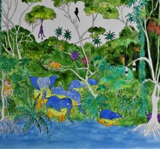 Bilit rainforest 4 ink and watercolour on board, 50 x 24cm copy