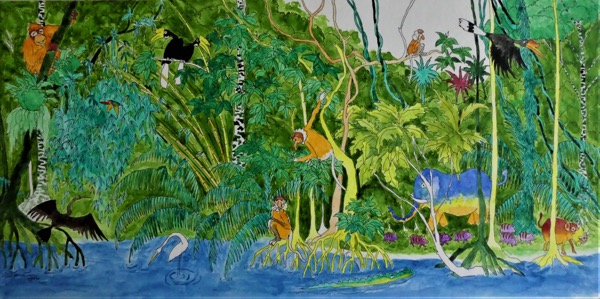 Bilit rainforest 5 ink and watercolour on board, 50 x 24cm copy