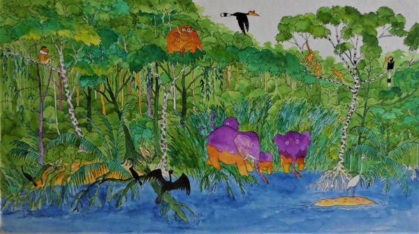 Bilit rainforest 6 ink and watercolour on board, 43 x 24cm copy