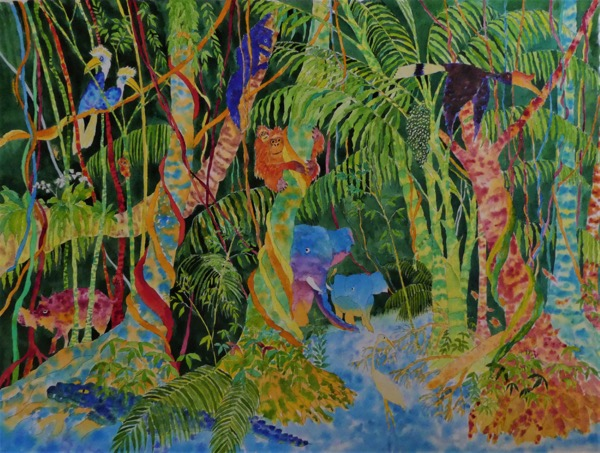 Bilit riverbank, kinabatangan 1 watercolour on paper, 75 x 55cm copy