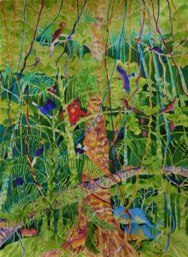Bilit riverbank, kinabatangan 2 watercolour on paper, 55 x 75cm copy
