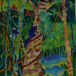 Bilit riverbank, kinabatangan 3 watercolour on paper 30 x 47cm copy