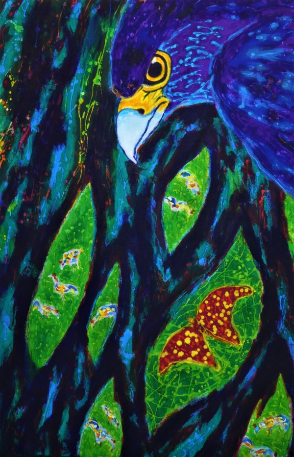 Breakfast for the buzzard at bilit acrylic and wax on cloth, 60 x 90cm copy