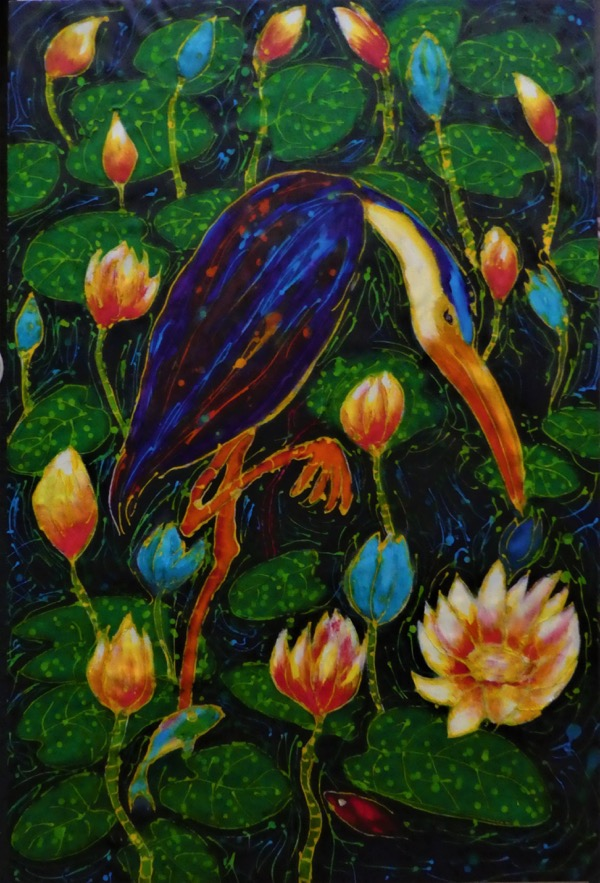 Heron stalking acrylic and wax on cloth, 90 x 60cm copy