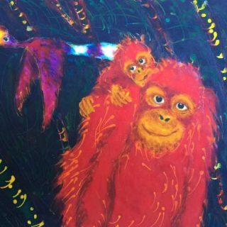 Kinabatangan series, 'mother & child orangutan' acylic and wax on cloth 58 x 43cm