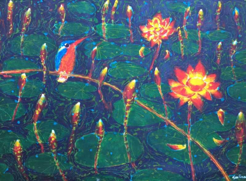 Kingfisher (Kinabatangan Series) acrylic and wax on cloth, 86 x 57cm