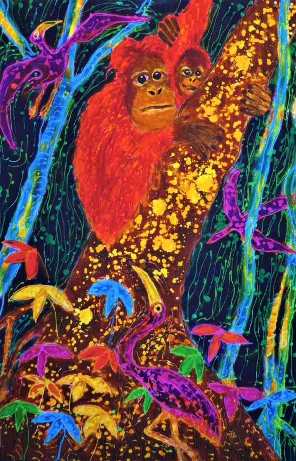 Orangutan mother and child, acrylic and wax on cloth, 60 x 90cm copy