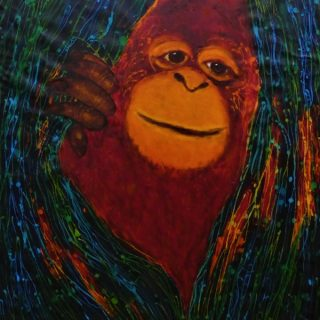 Orangutan at salt lick, acrylic and wax on cloth, 90 x 60cm copy