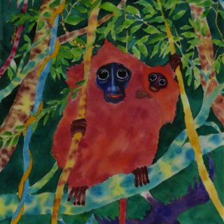 Red leaf monkey, mother & child watercolour on paper 30 x 47cm copy