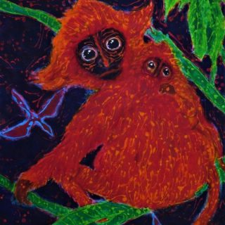 Red leaf monkey with child resting acrylic and wax on cotton 60 x 90cm copy