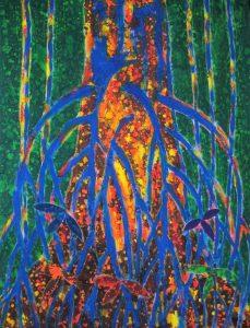 Sipadan series, 'ara the strangulation fig' acylic and wax on cloth 90 x 122cm