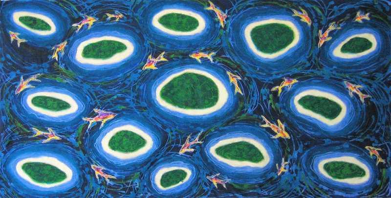 Island Dream, acrylic and wax on cloth, 115 x 56cm