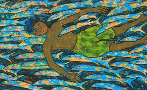 Sipadan series 'maidin' acrylic and wax on cloth 487 x 122cm part 2