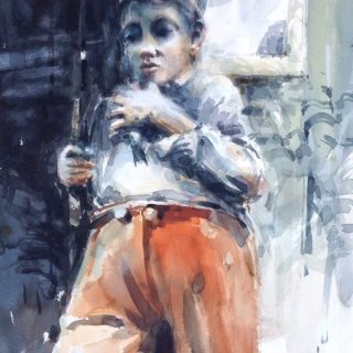 A boy with a fish watercolour on paper 56 x 38cm