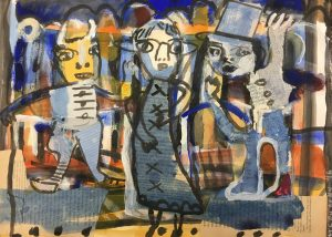 Acme friends mixed media on paper 36 x 26cm