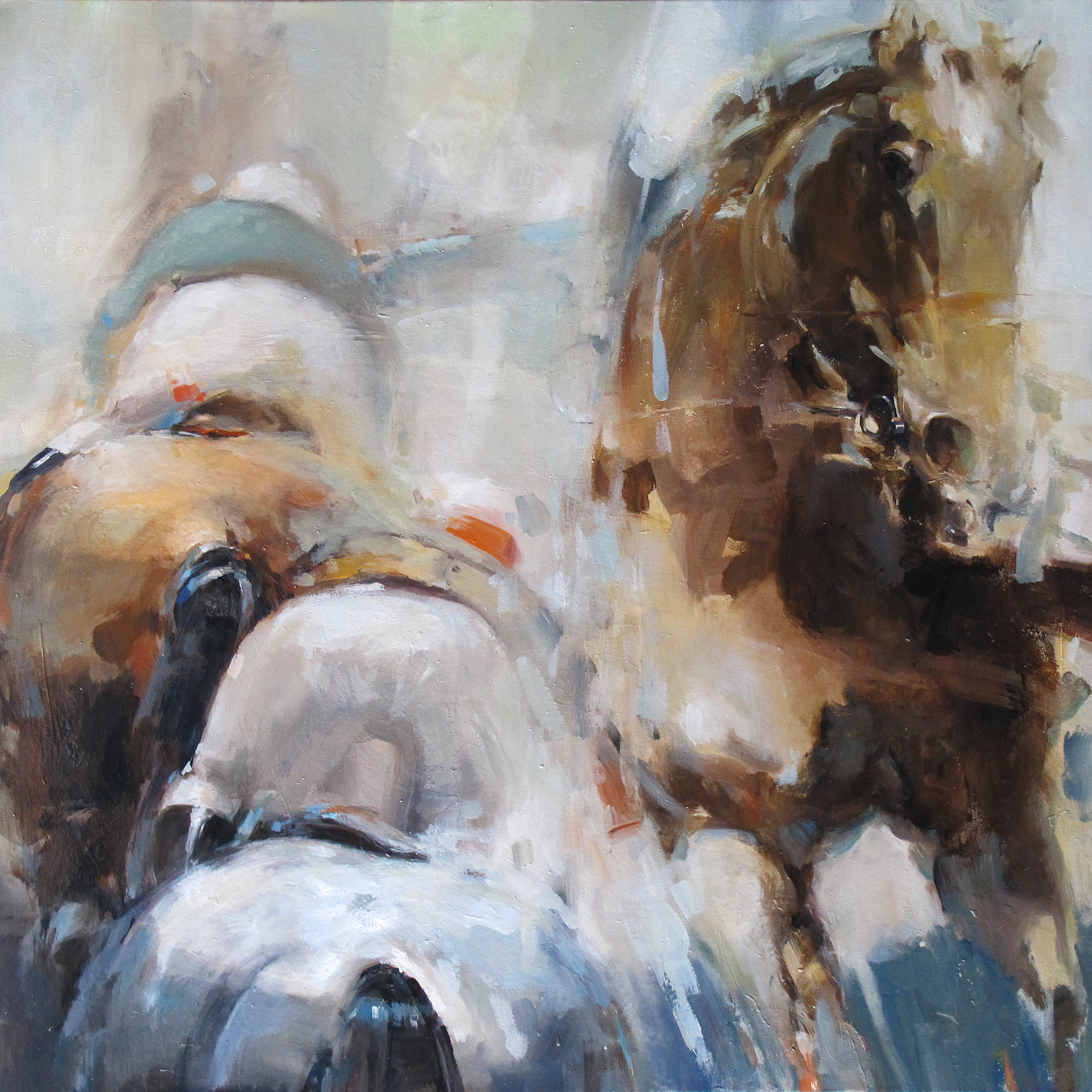 At the races 2 oil on canvas 92 x 92cm