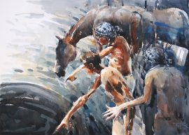Bathers in italy watercolour on paper 56 x 38cm