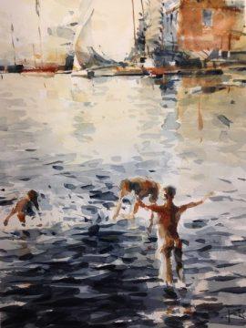 Bathers watercolour on paper 56 x 38cm