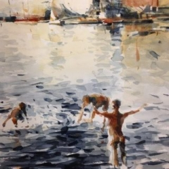 Bathers watercolour on paper 56 x 38cm