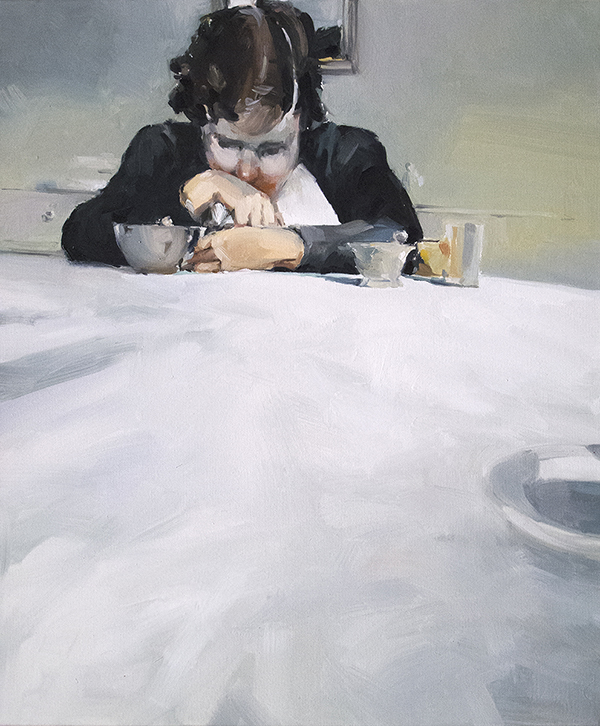 By the table oil on canvas 61 x 51cm