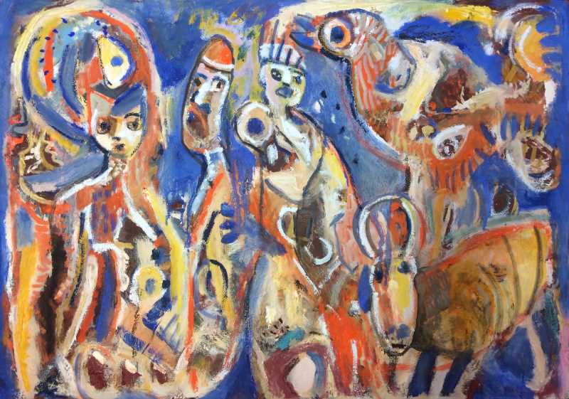 Carnival characters oil on canvas 61 x 87cm