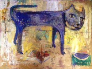 Carolina cat oil & mixed media on canvas 76 x 102cm