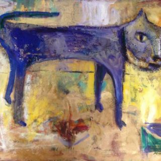 Carolina cat oil & mixed media on canvas 76 x 102cm