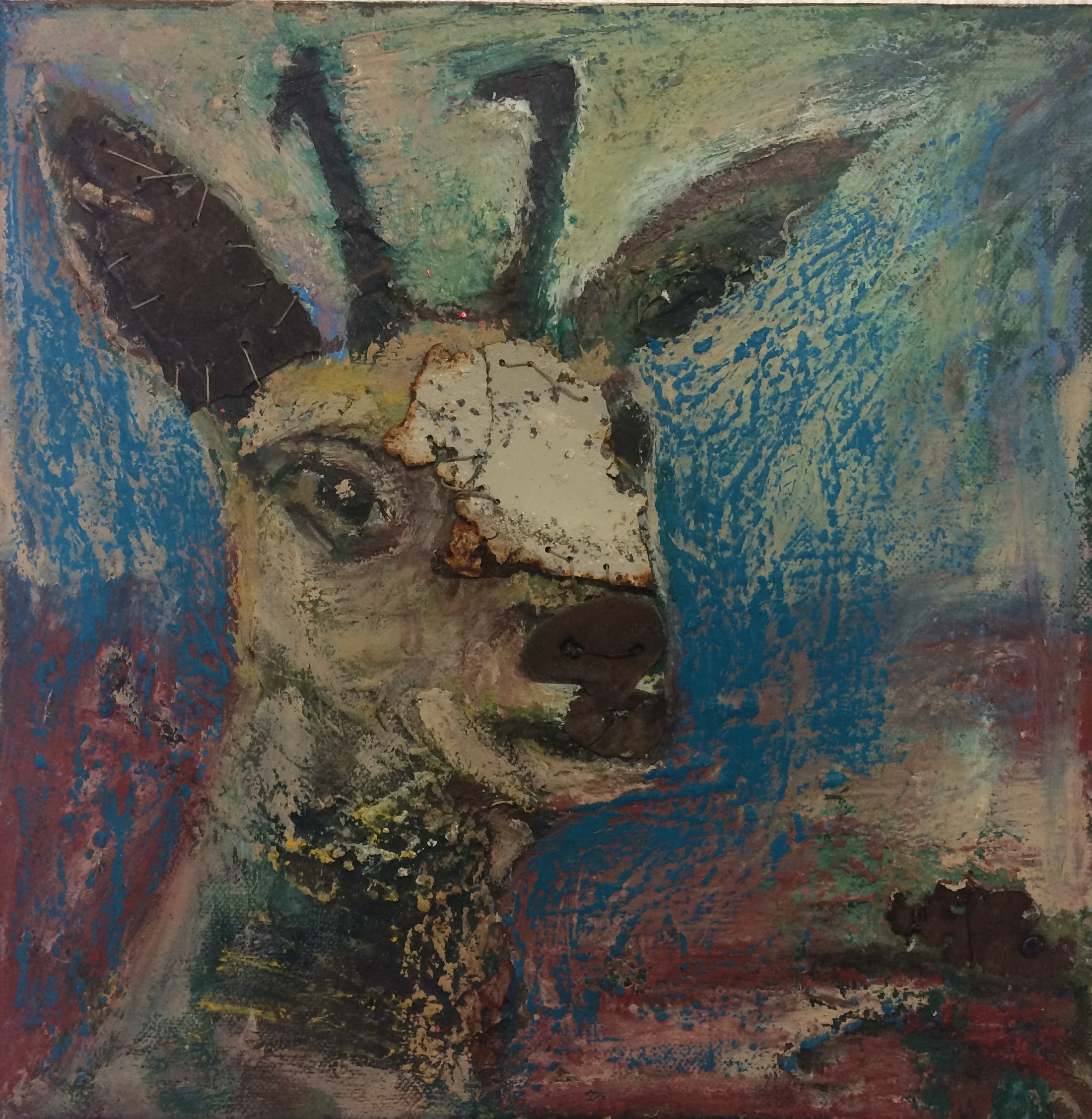 Caroline goat oil & mixed media on canvbas 31 x 31cm