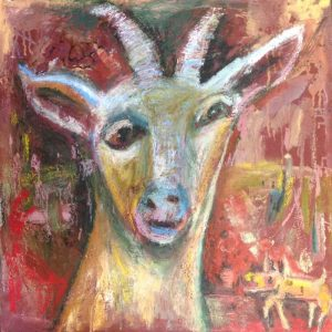 Ernie's goat oil & mixed media on canvas 51 x 51cm