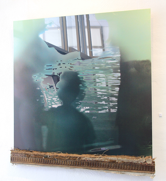 Expectations digital image on mirrored aluminium with found timber 109 3 x 104cm