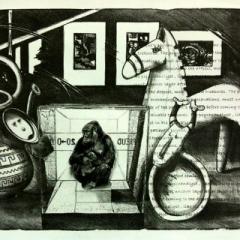 Freuds treasures lithograph & pencil 83 5 x 92cm