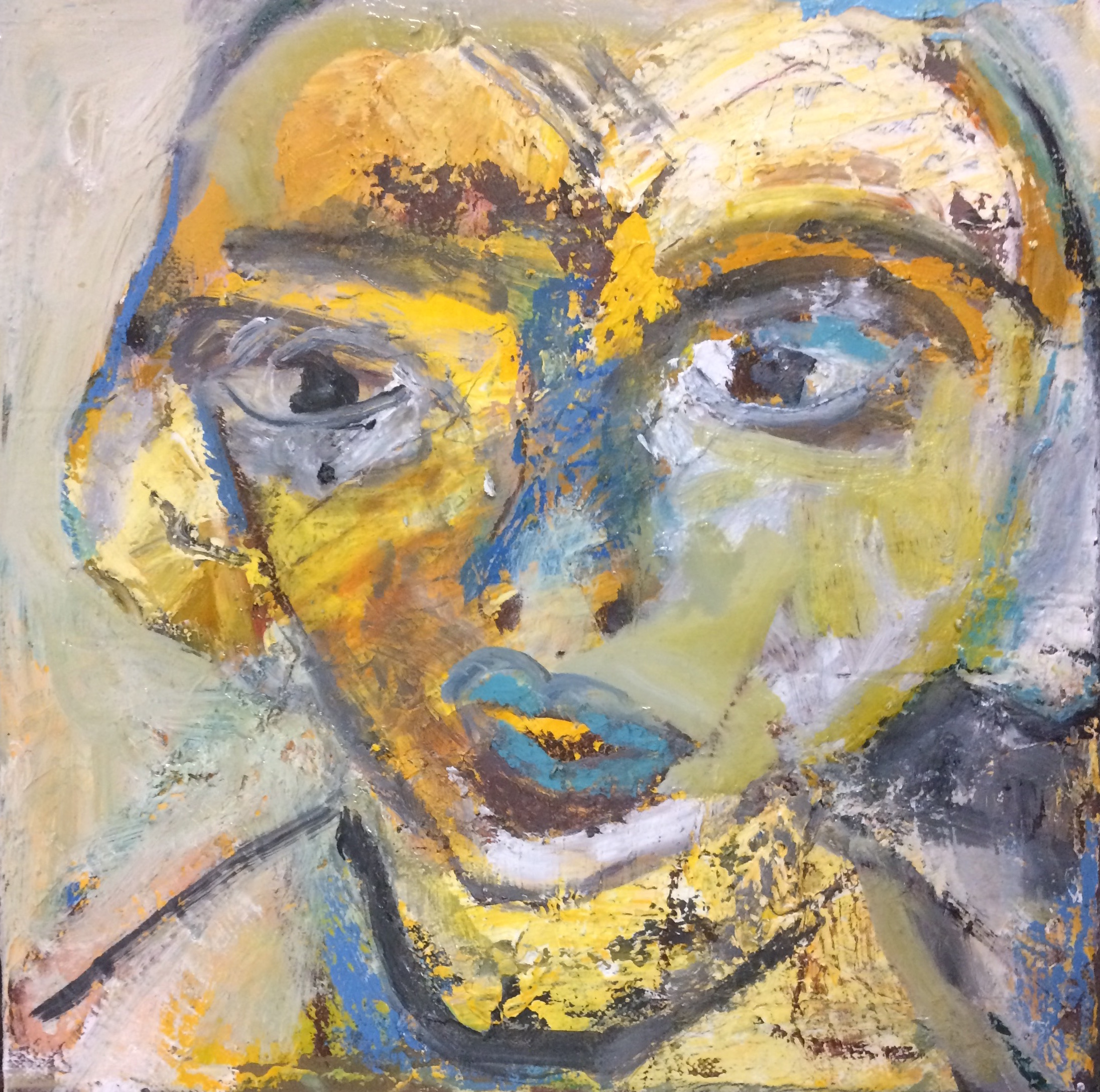 Girl dreaming oil on canvas 31 x 31cm