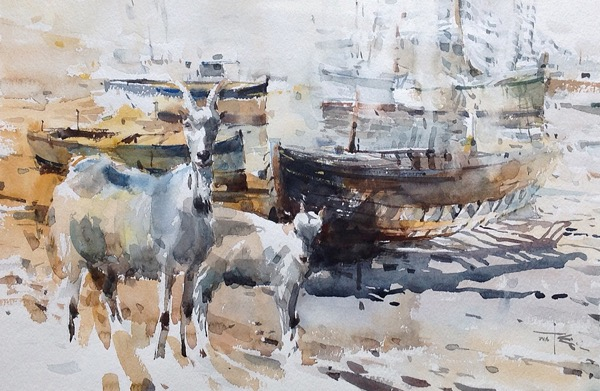 Goat 1 watercolour on paper 56 x 38cm