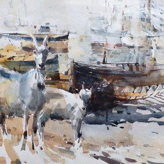 Goat 1 watercolour on paper 56 x 38cm