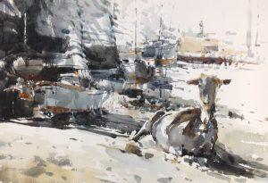 Goat 2 watercolour on paper 56 x 38cm