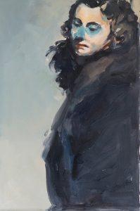 Green eyes, oil on loose linen, 66 x 45 cm