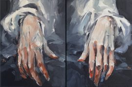 Hands-diptych oil on canvas 2 x (31 x 41) cm