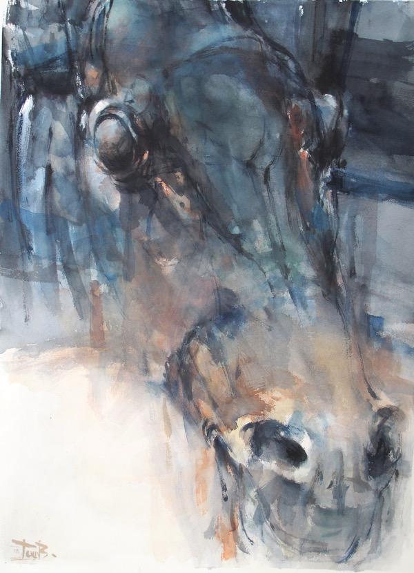 Head 3 watercolour on paper 76 x 56 cm