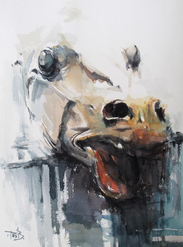 Head 4 watercolour on paper 76 x 56 cm