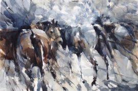 Horses 1, watercolour on paper 56 x 38cm