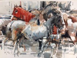 Horses 2, watercolour on paper 56 x 38cm