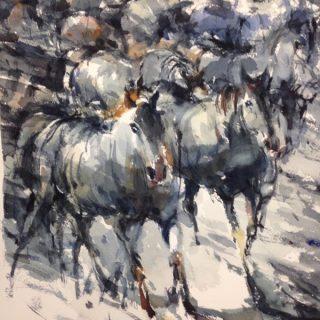 Horses 3, watercolour on paper 56 x 38cm