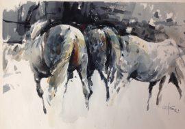 Horses 4, watercolour on paper 56 x 38cm