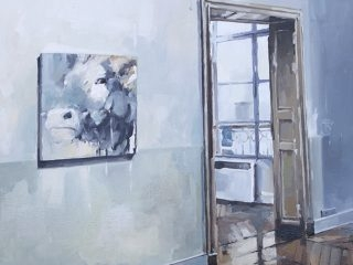 In my studio oil on canvas 76 x 76cm