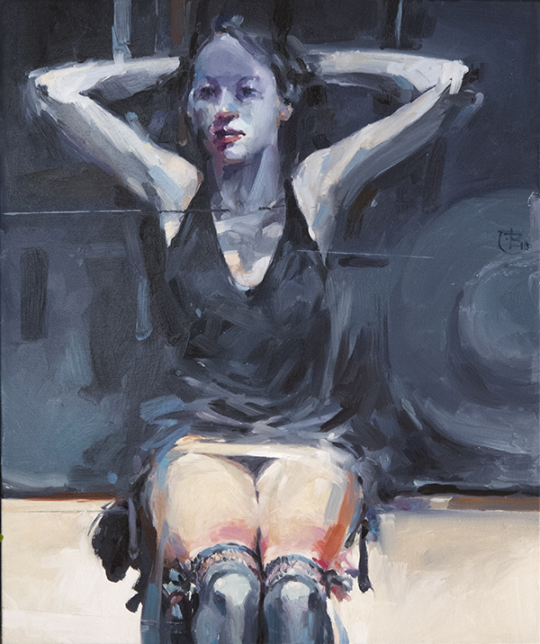 Lady with garters oil on canvas 61x51cm