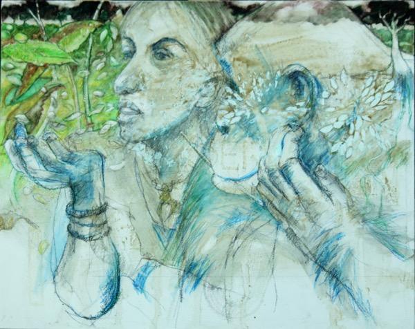Lou & lubutu watercolour pencil & mixed media on board 20 2cm x 25 5cm copy