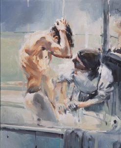 Maid en bath oil on canvas 61x51cm