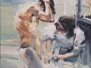 Maid-en bath oil on canvas 61x51cm