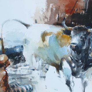 Man and bull watercolour on paper 56 x 38cm